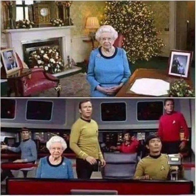 Die Queen als Raumschiff Captain neben Kirk auf der Enterprise